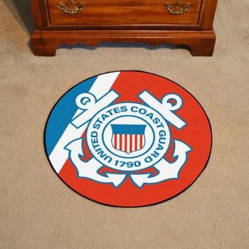"""44"""" U.S. Coast Guard Red Round Mat"""