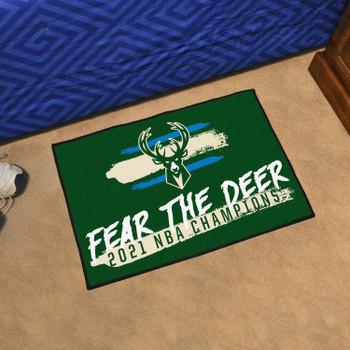 Milwaukee Bucks 2021 NBA Finals Champions Green Rectangle Starter Mat