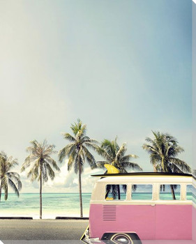 Surf Bus Pink Wrapped Canvas Giclee Art Print Wall Art