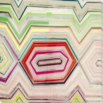 Aqua Zig Zag 4 Wrapped Canvas Giclee Art Print Wall Art