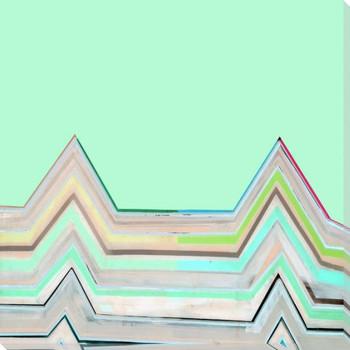 Aqua Zig Zag 1 Wrapped Canvas Giclee Art Print Wall Art
