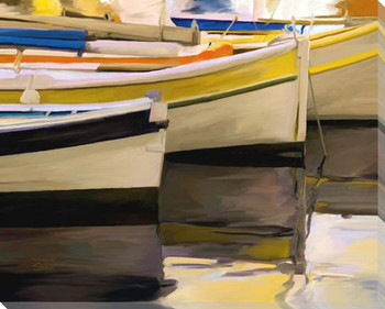 Row Boats Wrapped Canvas Giclee Art Print Wall Art