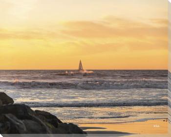 Sunset Sail Away Wrapped Canvas Giclee Art Print Wall Art