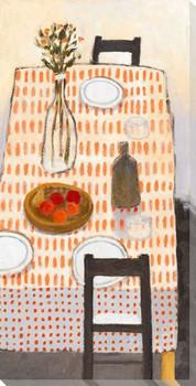 Orange Dot Table Wrapped Canvas Giclee Art Print Wall Art