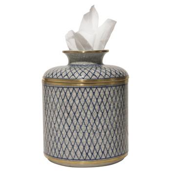 Blue and White Diamond Porcelain Tissue Box Cover