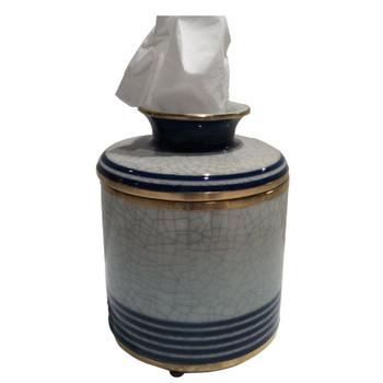 Blue and White Line Porcelain Tissue Box Cover
