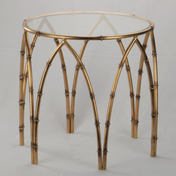 Arched Bamboo Iron and Glass Side Table