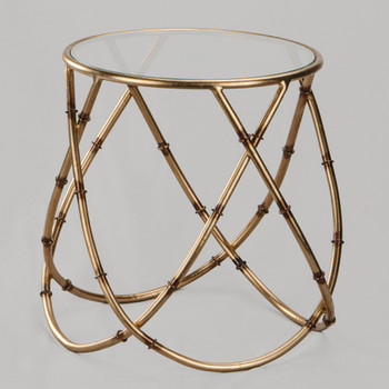 Gyro Bamboo Iron and Glass Side Table