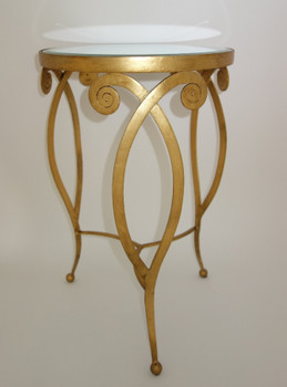 Antique Gold Round Iron and Mirror Deco Table