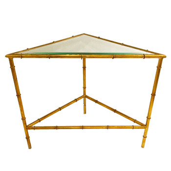 Antique Gold Bamboo 2 Tier Triangle Iron and Glass Table