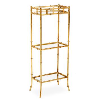 Antique Gold Bamboo 3 Tier Iron and Mirror Curio Table