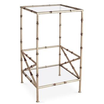 Antique Silver Bamboo 2 Tier Iron Table
