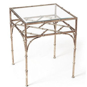 Antique Silver Bamboo Iron and Glass Table
