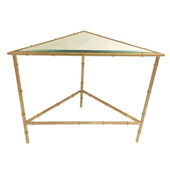 Champagne Silver 2 Tier Triangle Iron and Glass Table
