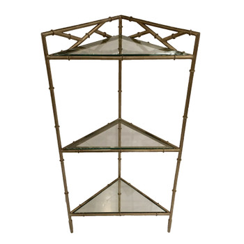 Champagne Silver Bamboo Triangle 3 Tier Iron and Glass Table
