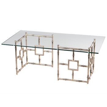 Antique Silver Finish Float Iron and Glass Coffee Table