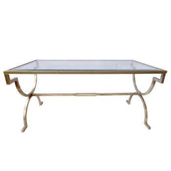 Antique Silver Gramercy Iron and Glass Coffee Table