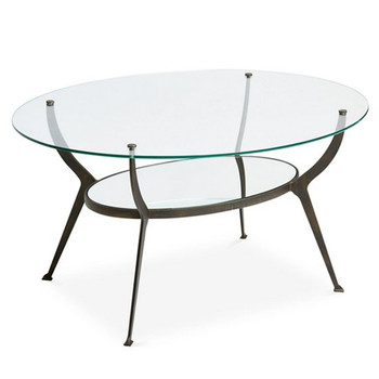 Bronze Oval Iron and Glass Coffee Table