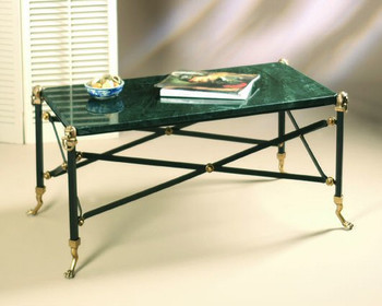 Brass Coffee Table with Green Marble Top