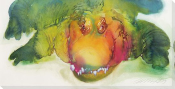 Gator Grin 2 Wrapped Canvas Giclee Print Wall Art