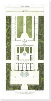 Plan de la Villa Altieri Wrapped Canvas Giclee Art Print Wall Art