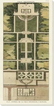 Plan De La Villa Giustiniani Wrapped Canvas Giclee Art Print Wall Art