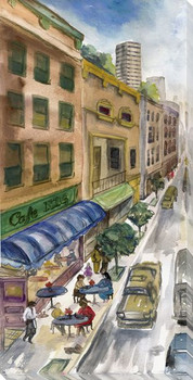 City Sketch Cityscape I Wrapped Canvas Giclee Print Wall Art