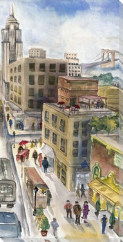 City Sketch Cityscape II Wrapped Canvas Giclee Print Wall Art