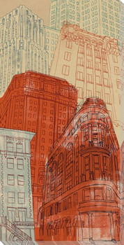 Tall Buildings Cityscape II Wrapped Canvas Giclee Print Wall Art