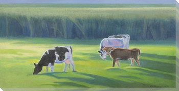 Four Cows Grazing Wrapped Canvas Giclee Print Wall Art