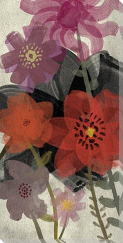 Red Wash Floral One Wrapped Canvas Giclee Print Wall Art