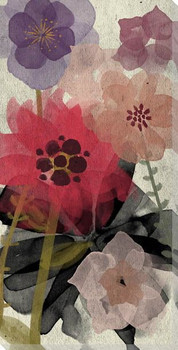 Red Wash Floral Two Wrapped Canvas Giclee Print Wall Art
