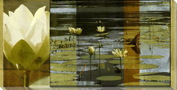 Lotus Flower Panel I Wrapped Canvas Giclee Print Wall Art