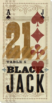 Blackjack Table 5 Wrapped Canvas Giclee Print Wall Art