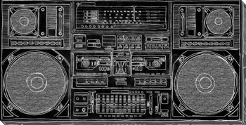 Boom Box Super Bass Wrapped Canvas Giclee Print Wall Art