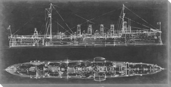 Navy Cruiser Blueprint Wrapped Canvas Giclee Print Wall Art