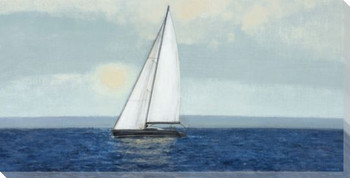 Sailing Alone Sailboat Wrapped Canvas Giclee Print Wall Art