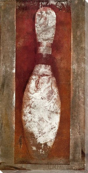 Single Red Bowling Pin Wrapped Canvas Giclee Print Wall Art