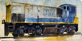 Locomotive USX Wrapped Canvas Giclee Print Wall Art