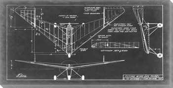 Aeronautic Blueprint V Wrapped Canvas Giclee Print Wall Art