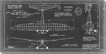 Aeronautic Blueprint VI Wrapped Canvas Giclee Print Wall Art