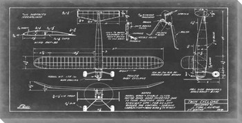 Aeronautic Blueprint VII Wrapped Canvas Giclee Print Wall Art