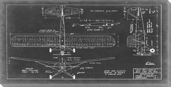 Aeronautic Blueprint VIII Wrapped Canvas Giclee Print Wall Art
