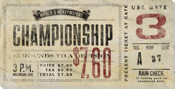 Vintage Boxing Tickets Heavyweight Wrapped Canvas Giclee Print
