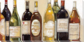 Vintage Wine Bottles Wrapped Canvas Giclee Print Wall Art