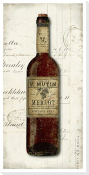 Old Wine Bottle Merlot Wrapped Canvas Giclee Print Wall Art
