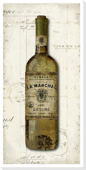 Old Wine Bottle Riesling Wrapped Canvas Giclee Print Wall Art