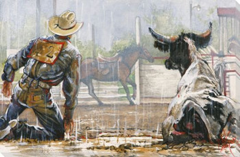 Bull Dog Baffled Cowboy Wrapped Canvas Giclee Print Wall Art