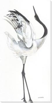 Snowy Crane Bird I Wrapped Canvas Giclee Print Wall Art