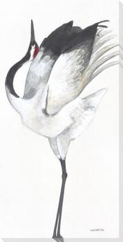 Snowy Crane Bird II Wrapped Canvas Giclee Print Wall Art